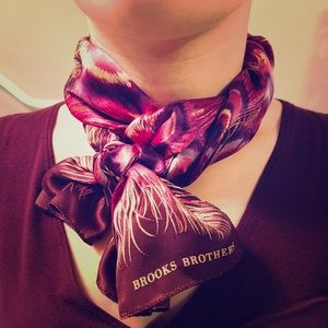 Brooks Brothers Silk Peacock Feather Print Scarf